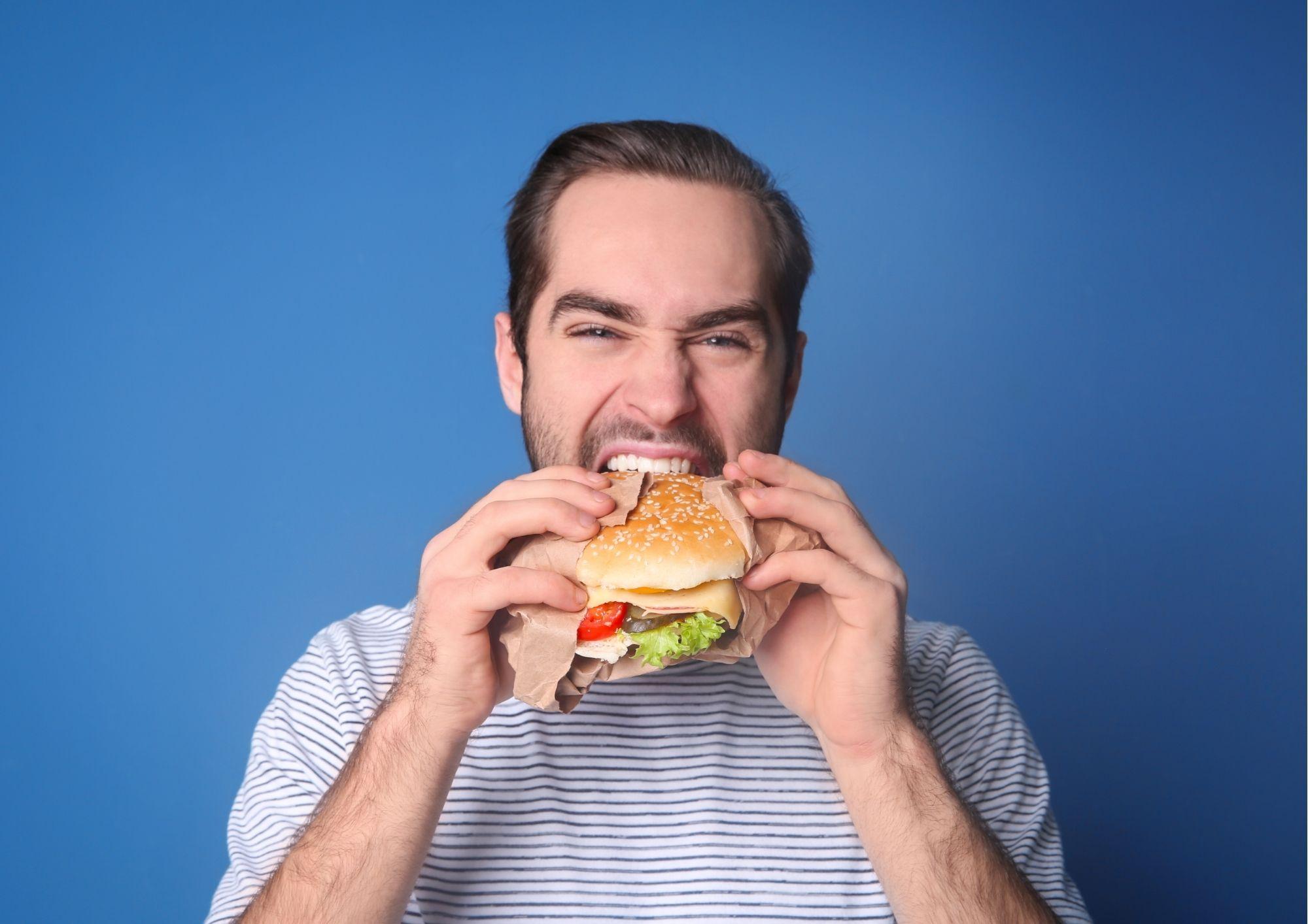 Eating yummy burger